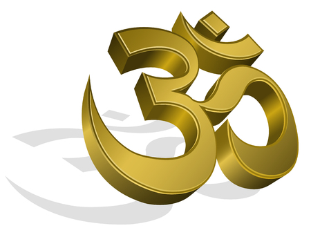 tantra: golden om symbol, isolated on white background