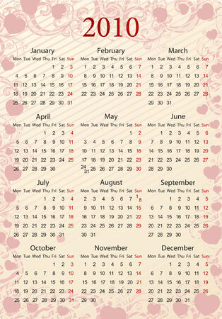 European Vector pink floral calendar with hearts, starting from Mondays Stock Vector - 6043231