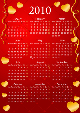 mondays: Vector European red calendar with golden hearts, starting from Mondays  Illustration