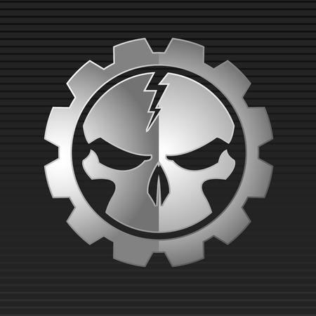 skull background: Vector illustration of metal skull over gray background  Illustration