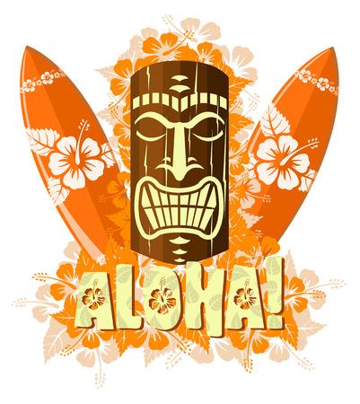 Vector illustratie van oranje tiki-masker met surfplanken, en met de hand getekende tekst Aloha