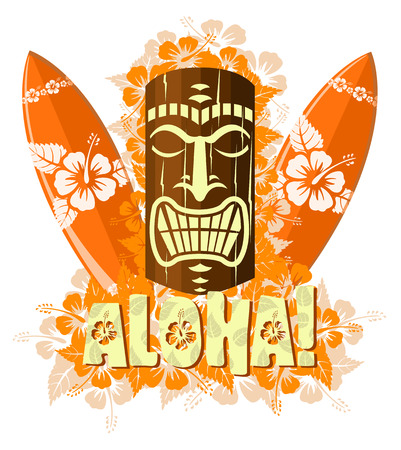 Vector illustration of orange tiki mask with surf boards, and hand drawn text Aloha
