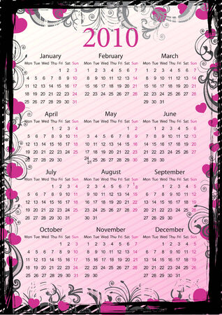 European Vector pink floral grungy calendar 2010 with hearts, starting from Mondays Vector
