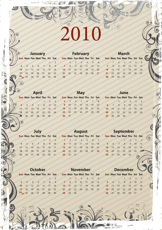 Vector beige floral grungy American calendar 2010, starting from Sundays Stock Vector - 6080011