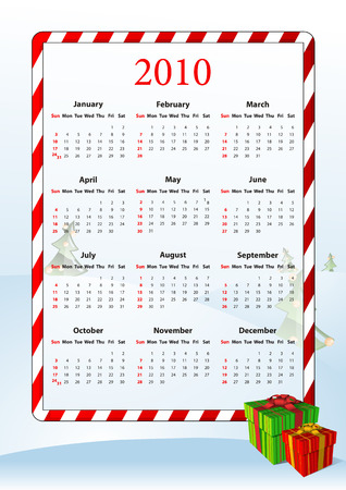 sundays: Vector illustration of American calendar 2010 with gift boxes, starting from Sundays