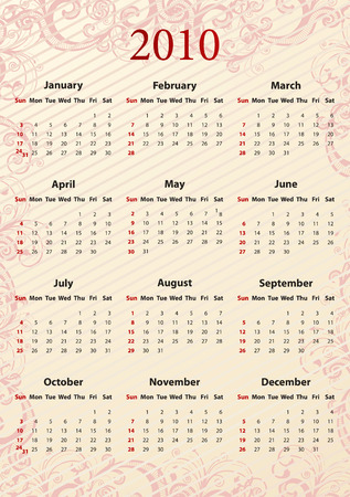 American Vector pink floral calendar, starting from Sundays Stock Vector - 6080015