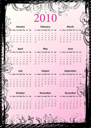 American Vector pink floral grungy calendar 2010, starting from Sundays  Stock Vector - 6080010
