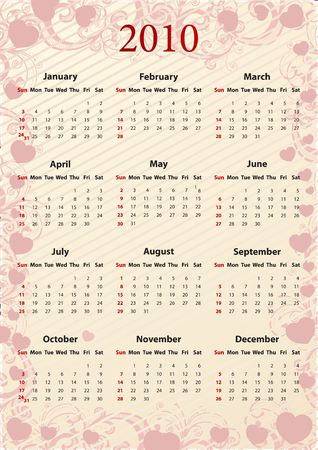 American Vector pink floral calendar with hearts, starting from Sundays Stock Vector - 6110997