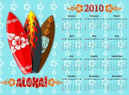 American blue Aloha vector calendar 2010 with surf boards, starting from Sundays  Vector