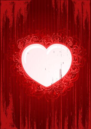 illustration of grunge floral heart frame for Valentine%uFFFDs Day  Vector