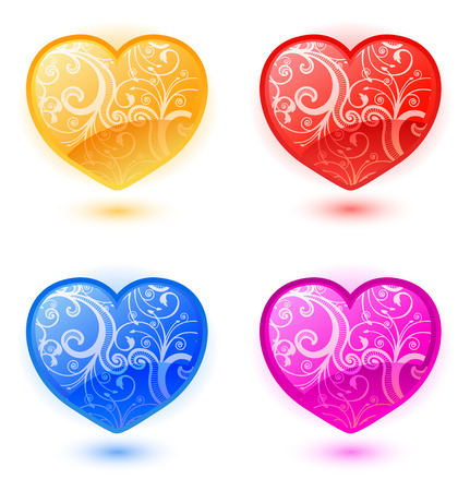 Set of colorful floral hearts for Valentine%uFFFDs Day  Vector