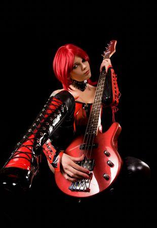guitarra sexy: Guitarrista sexy, concentraci�n selectiva en la guitarra