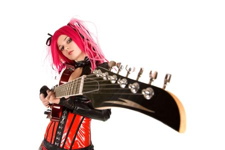 Gothic girl with guitar, focus on face, isolated on white background    photo
