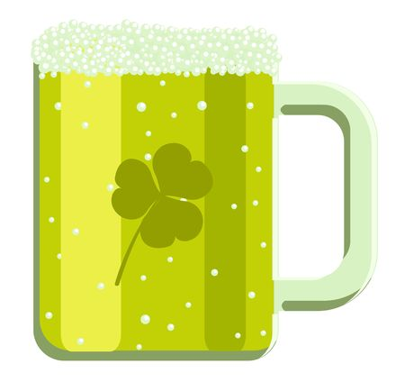 cartoon green beer with clover for St. Patrick's Day  Stock Vector - 6573609