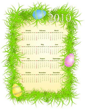 illustration of Easter calendar 2010, starting from Sundays  Stock Vector - 6573631