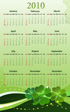 sundays: illustration of 2010 calendar for St. Patricks Day, starting from Sundays