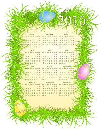 mondays: illustration of Easter calendar 2010, starting from Mondays