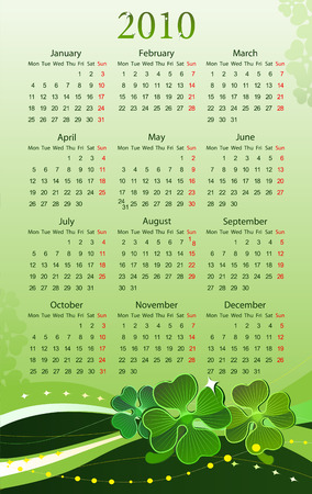 illustration of 2010 calendar for St. Patrick's Day, starting from Mondays Stock Vector - 6645537