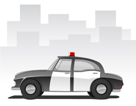 illustration of cartoon police car, abstract city on background