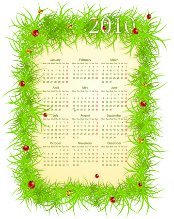 mondays: illustration of spring 2010 calendar, starting from Mondays
