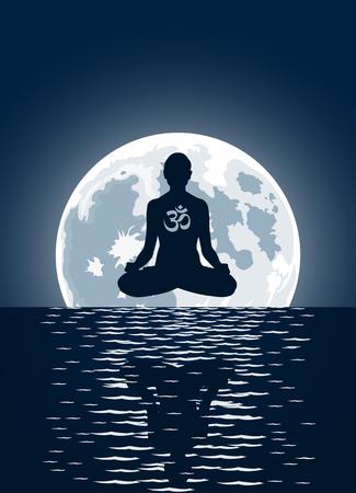 Yoga con símbolo de ohm sobre fondo de Luna