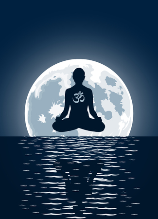 yoga with ohm symbol over moon background
