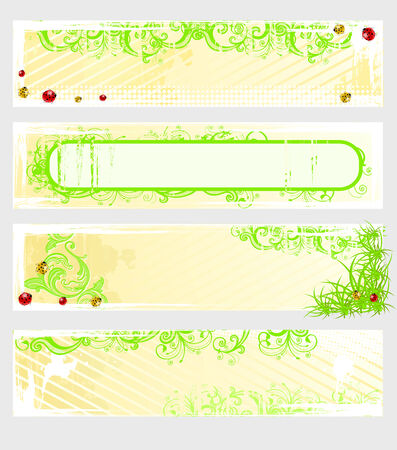 Set of vector spring banners with grass and colored ladybugs Stock Vector - 6674798