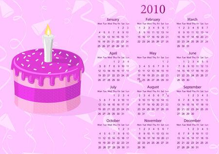 mondays: European calendar with cake, starting from Mondays
