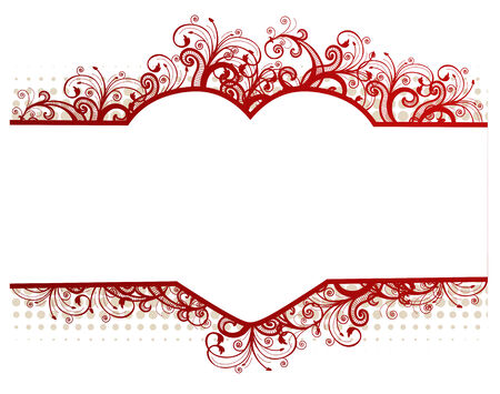 floral beige frame with heart-shaped copy-space for your text