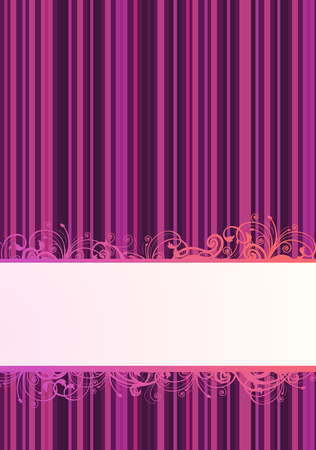 Vector illustration of purple striped wallpaper with floral copy-space  Vector