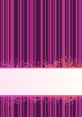 striped wallpaper: Vector illustration of purple striped wallpaper with floral copy-space  Illustration