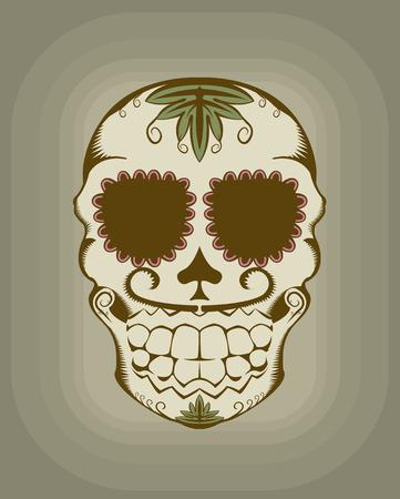 gravure: illustrazione del cranio di zucchero decorativi