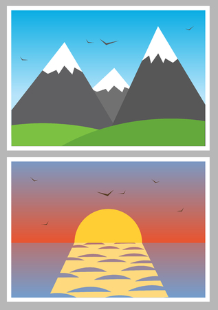 simple photo icons with different landscapes   Vector