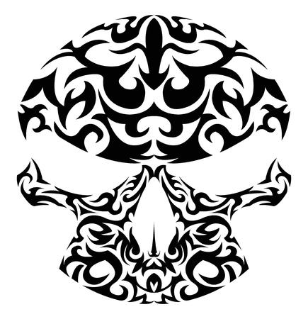 boned: illustration of tribal patterns skull