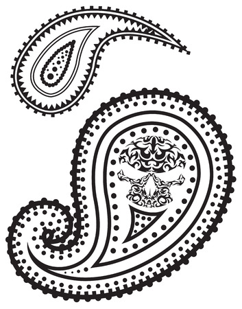 illustration of paisley pattern with skull Stock Vector - 6766269