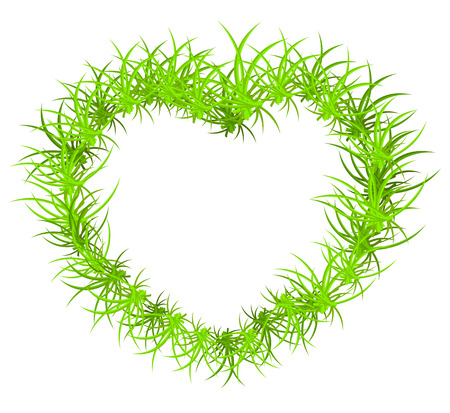 Vector illustration of heart-shaped frame from grass  Vector