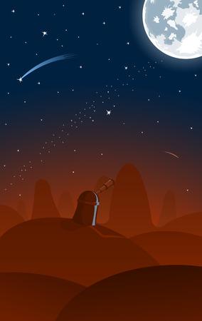 kopule: Vector observatory, full moon and falling stars on background  Ilustrace
