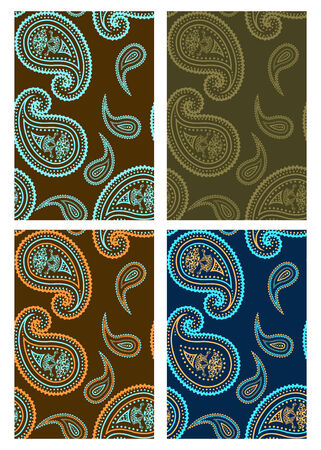 Set of vector seamless paisley colorful backgrounds  Vector