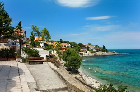 View of city Old Nessebar and sea, Bulgaria
