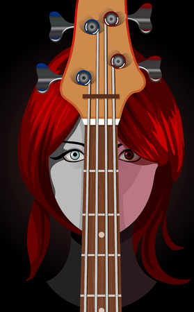 illustration of girl with guitar, part of guitar is masked, and editable  Vector