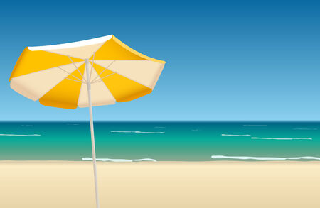 Vector illustration of tropical beach with orange umbrella  Stock Vector - 7253249