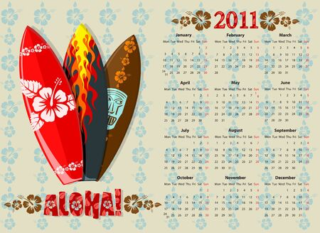 European Aloha calendar 2011 with surf boards, starting from Mondays Vector