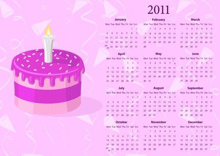 mondays: European calendar 2011 with cake, starting from Mondays