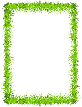 green frame: fresh grass frame with copy-space for your text or photo  Illustration