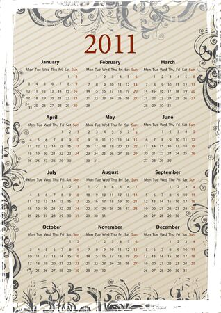 mondays: European beige floral grungy calendar 2011, starting from Mondays