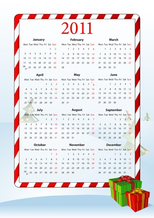 illustration of European calendar 2011 with gift boxes, starting from Mondays Vector