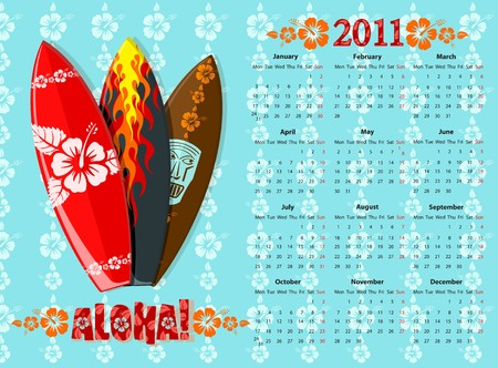 mondays: European blue Aloha calendar 2011 with surf boards, starting from Mondays