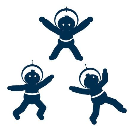 illustration of flying cosmonauts Stock Vector - 7351154