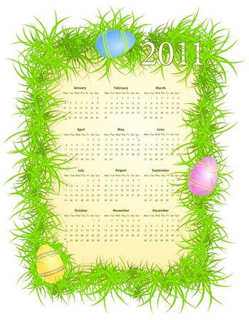 mondays: illustration of Easter calendar 2011, starting from Mondays