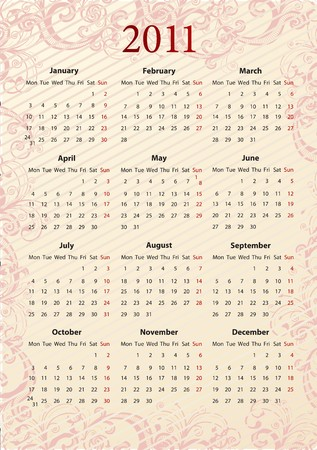 European pink floral calendar 2011, starting from Mondays Stock Vector - 7351158